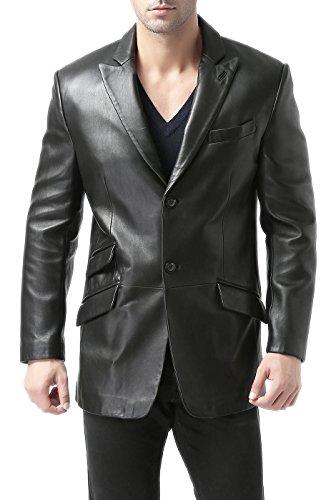 "BGSD Men's ""Noah"" Peaked-Lapel Lambskin Leather Blazer (Regular Tall & Short)"