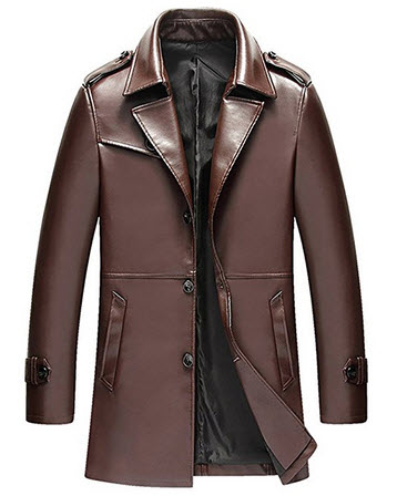 BINGKA Mens Faux Leather Jacket Motorcycle Rider Slim Long Jacket Trench Coat.