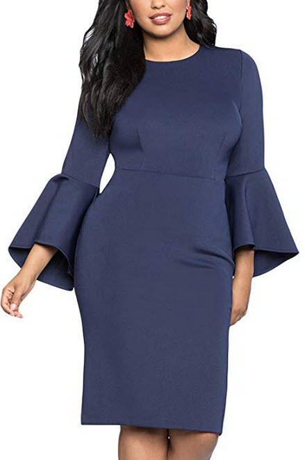 Biucly Womens Stylish Sexy Spring O-Neck Solid Plus Size Flare Sleeve Night Out Dress navy