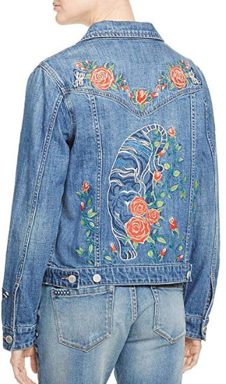 Blank NYC Womens Embroidered Floral Denim Jacket, wildchild