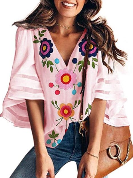 BLENCOT Womens 3/4 Bell Sleeve V Neck Lace Patchwork Blouse Casual Loose Shirt Top, floral pink