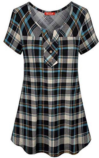 Blevonh Womens Short Sleeve Split V Neck Plaid Shirt Casual Henley Tunic, blue plaid