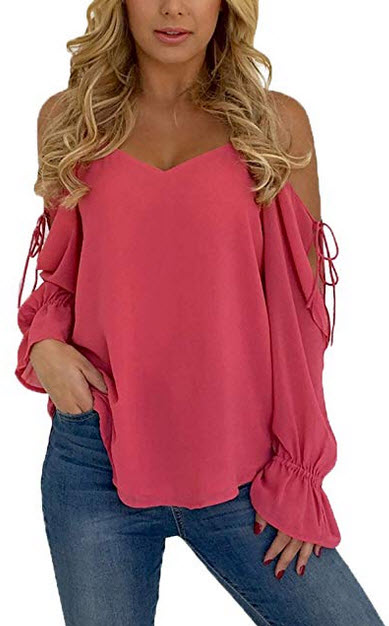 Blibea Womens Sexy Long Sleeve Spaghetti Strap Cold Shoulder Tops and Blouse red