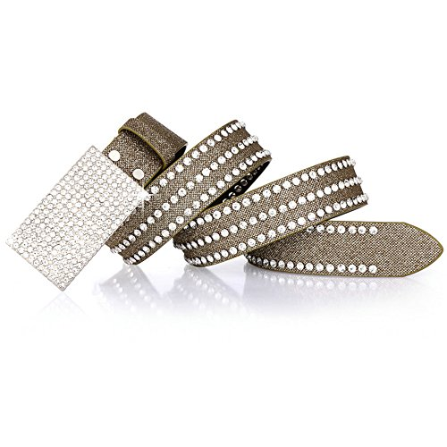 Bling Rhinestones Women's Parallel Buckle Belt,Casual Jeans Waist Belts by ZaBelt