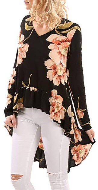 Blooming Jelly Women's Oversized Long Sleeve V Neck Shirts Frilled Floral Blouse Hi Low As ...