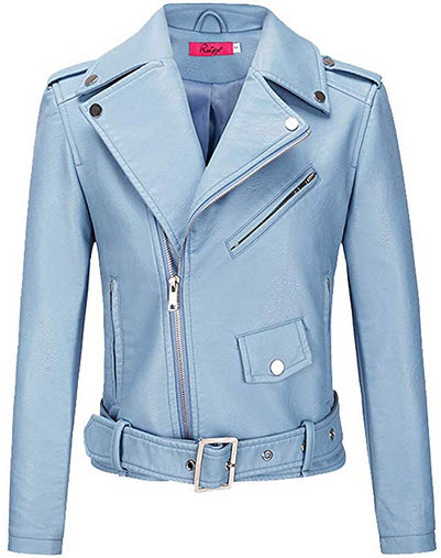 BOMBAX Womens Slim Leather Motorcycle Jacket Blazer Short Bike Coat with Pocket Fall  blue