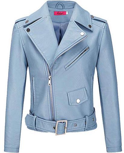 BOMBAX Womens Slim Leather Motorcycle Jacket Blazer Short Bike Coat with Pocket Fall blue