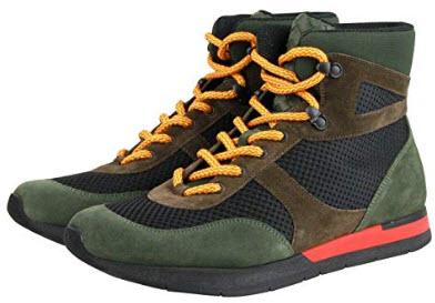 Bottega Veneta Mesh High Top Green/Brown/Black Suede Leather Sneaker 417024 3364