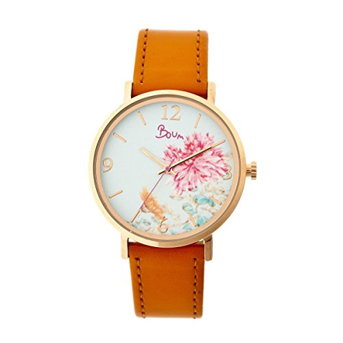 Boum Mademoiselle Floral-Dial Watch, Rose Gold/Camel, Standard
