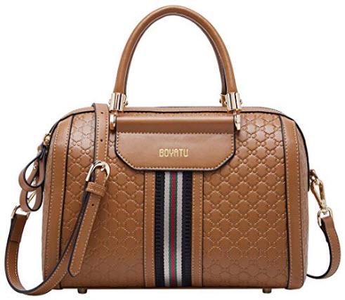 BOYATU Womens Leather Handbags Top Handle Bags Tote Designer Purses for Ladies (Brown)