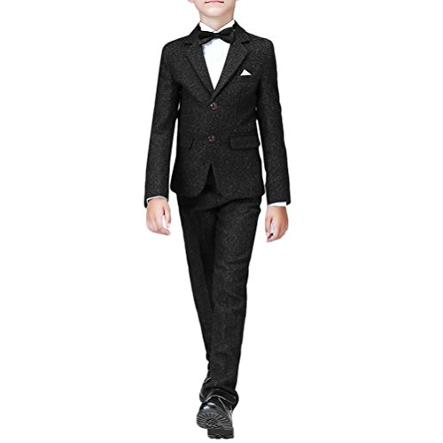 Boyland Boys Slim Fit Suit Notched Lapel Performance Dress Suit Black/Royal Navy Blue