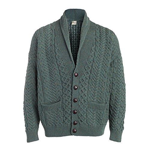 Boyne Valley Knitwear Mens Cable Button Shawl Collar Cardigan