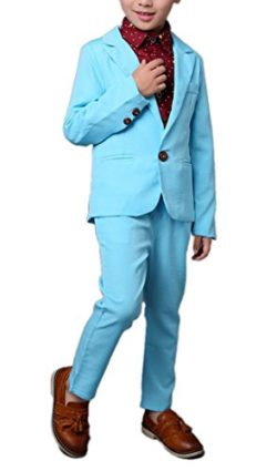 Boys Blue & Pink Suit Set 2 Pieces Blue & Pink Blazer and Pants Set by ZhaoKai