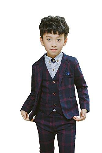 Boys Plaid Suits Formal Dress Blazer Vest Pants 3 Pieces Gray & Navy 2 Colors by YUFAN