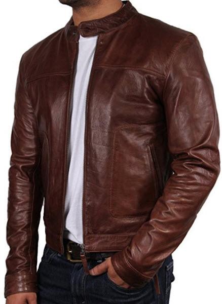 Brandslock Mens Biker Leather Bomber Jacket Coat Designer