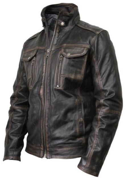 Brandslock Men's Vintage Leather Biker Jacket
