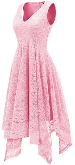 Bridesmay Women's Elegant V-Neck Sleeveless Asymmetrical Handkerchief Hem Floral Lace Cock ...