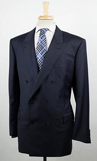 Brioni Penne Blue Wool Double Breasted Sport Coat Blazer Size 58/48 Short.