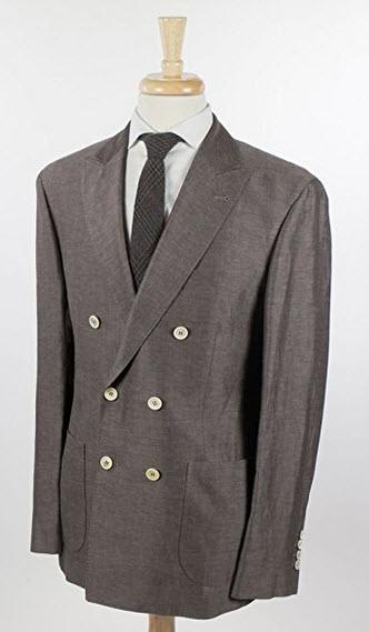 Brunello Cucinelli Brown Linen Blend Double Breasted Sport Coat Blazer Size 48/38 Reg.