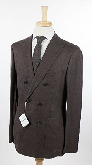 Brunello Cucinelli Brown Linen Double Breasted Sport Coat Blazer Size 48/38 Reg.