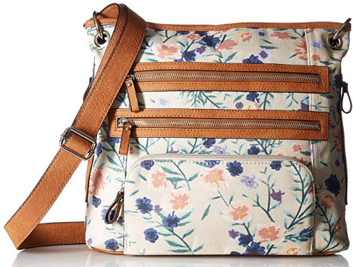 Bueno of California Bueno Canvas Triple Zipper Crossbody, blush lilac flower