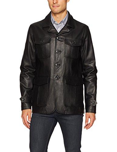 BUGATCHI Men's Leather Blazer Style Jacket