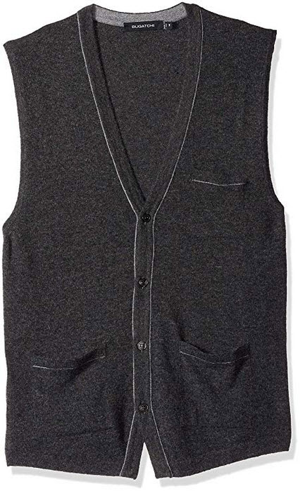 Bugatchi Men's Lightweight V-Neck Sweater Vest graphite