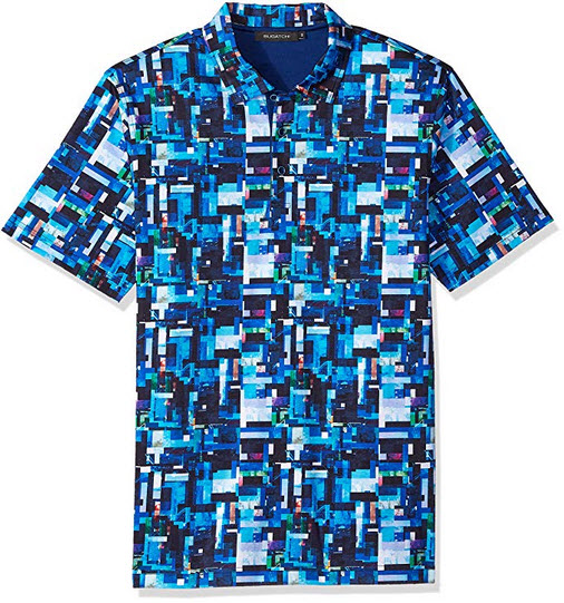 Bugatchi Men's Shaped Fit Short Sleeve Three Button Polo Shirt turquoise