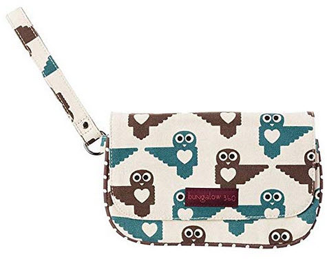 Bungalow360 Vegan Natural Cotton Large Wristlet-Owl