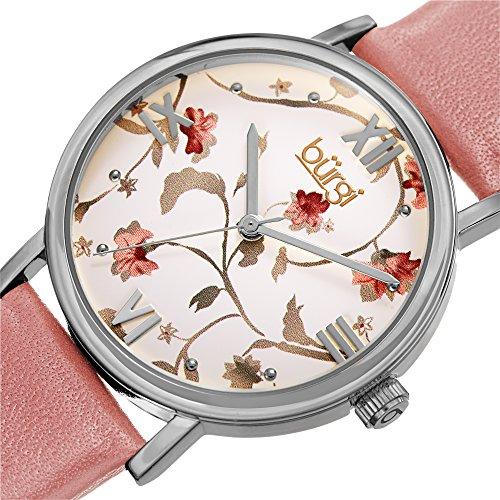 Burgi Women's BUR186PK Floral Print Silver & Pink Leather Strap Watch