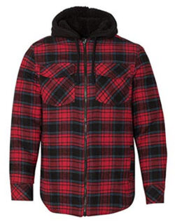 Burnside Men's 8620 Plaid Quilted Lined Flannel Full-Zip Hooded Jacket, red
