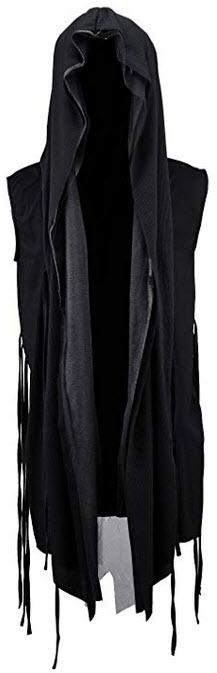 ByTheR Men's Mesh Layerd String Detail Dark Gothic Sleeveless Hooded Cardigan black