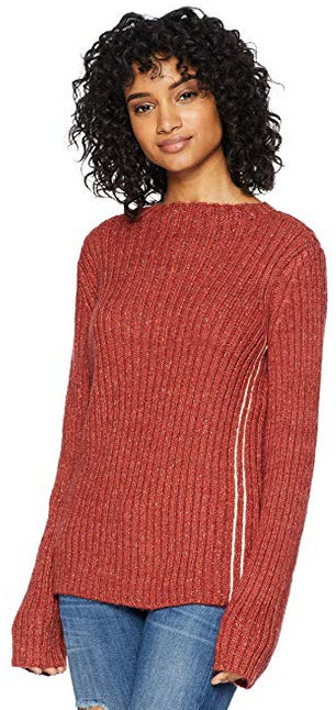 Cable Stitch Women's Chunky Ribbed Sweater rust