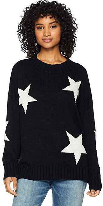 Cable Stitch Women's Intarsia Star Sweater black/white
