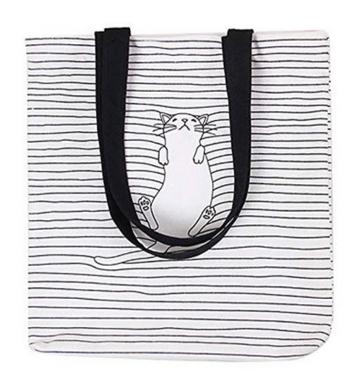 Caixia Womens Black Stripe Lazy Cat Canvas Tote Bag Beige