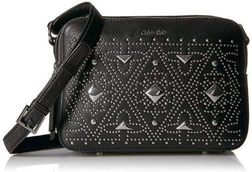 Calvin Klein Avery Pebble All-Over Pyramid Stud Embellished Camera Bag Crossbody black