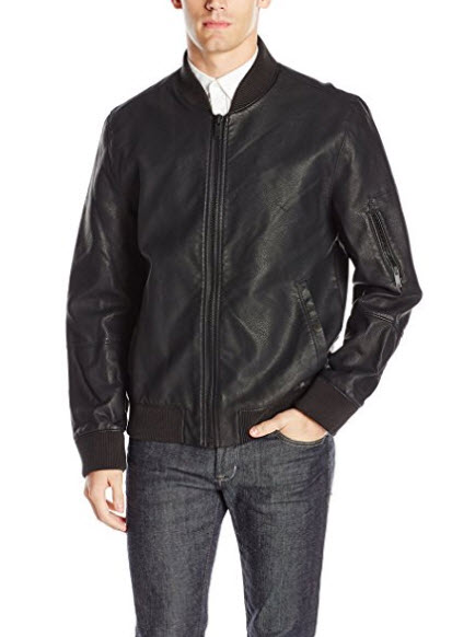 Calvin Klein Jeans Men's Faux Leather Aviator Jacket.
