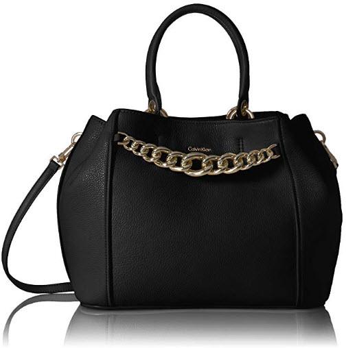 Calvin Klein Key Item Pebble Satchel, black gold