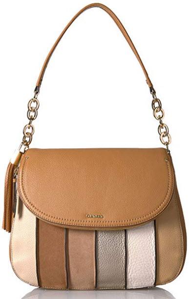 Calvin Klein Lynn Pebble & Suede Flap Hobo Shoulder Bag