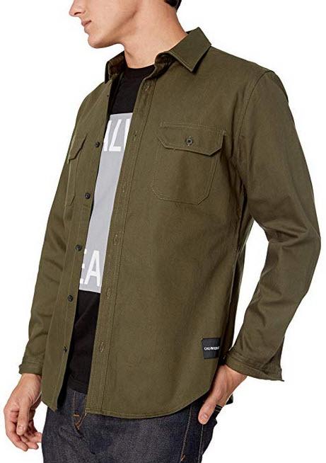 Calvin Klein Men's Long Sleeve Denim Button Down Shirt grape leaf