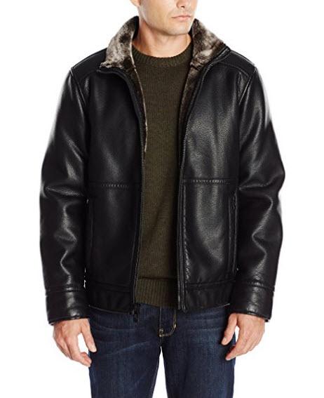Calvin Klein Men's Pebbled Faux Shearling Jacket.