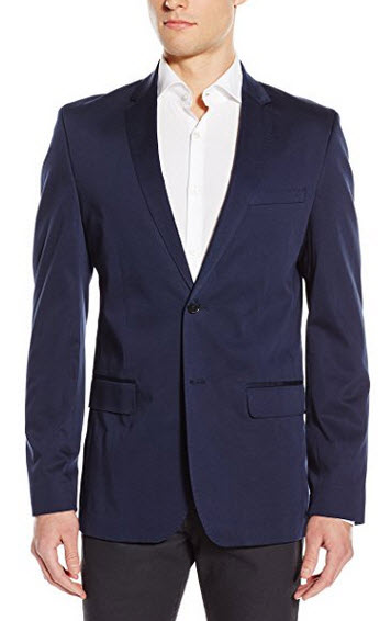Calvin Klein Men's Slim Stretch Sateen Sportcoat navy