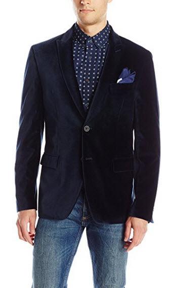 Calvin Klein Men's Velvet Two-Button Slim-Fit Sport Coat navy