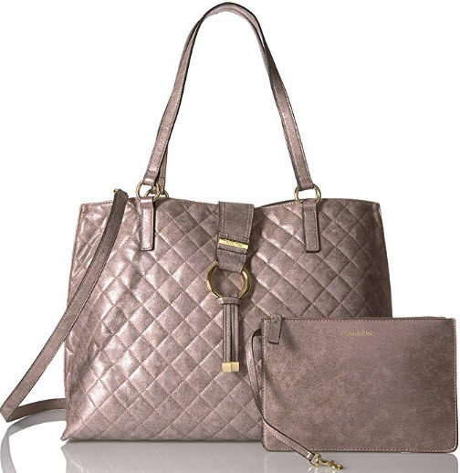 Calvin Klein Quilted Distressed Novelty Tote, metallic taupe