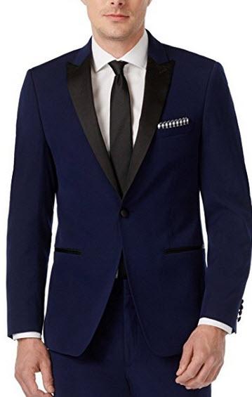 Calvin Klein Slim Fit Navy Solid 2 Button Flat Front New Men's Tuxedo Suit.