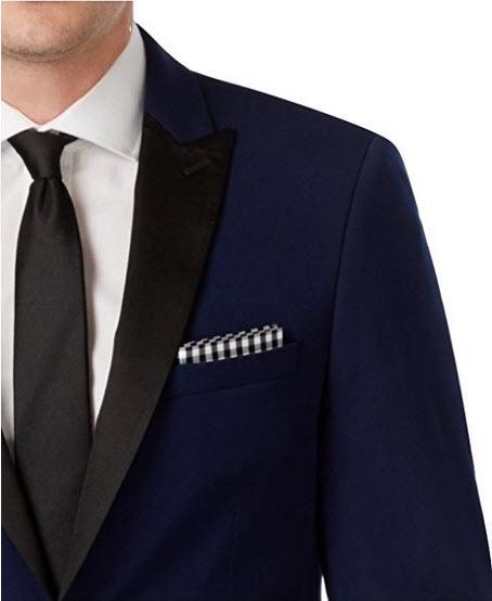 Calvin Klein Slim Fit Navy Wool Solid One Button New Men's Sport Coat .