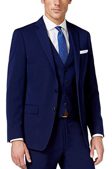 Calvin Klein Slim Navy Solid 2 Button Flat Front New Men's Three Piece Suit.