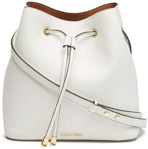 Calvin Klein Sonoma Bubble Lamb Novelty Drawstring Hobo, white