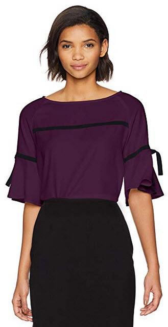 Calvin Klein Womens Bell Sleeve with Tie Detail aubergine