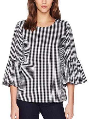 Calvin Klein Women's Gingham with Bell Sleeve, black & white